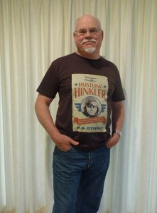 The author in his Hustling Hinkler T-shirt