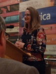 Meg Vann, QWC CEO, launching Hustling Hinkler at Riverbend Books, Brisbane