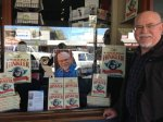 A familiar face in the window of Rosetta Books, Maleny