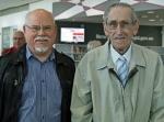 with Bert Hinkler's nephew, Ron, at Bundaberg Library
